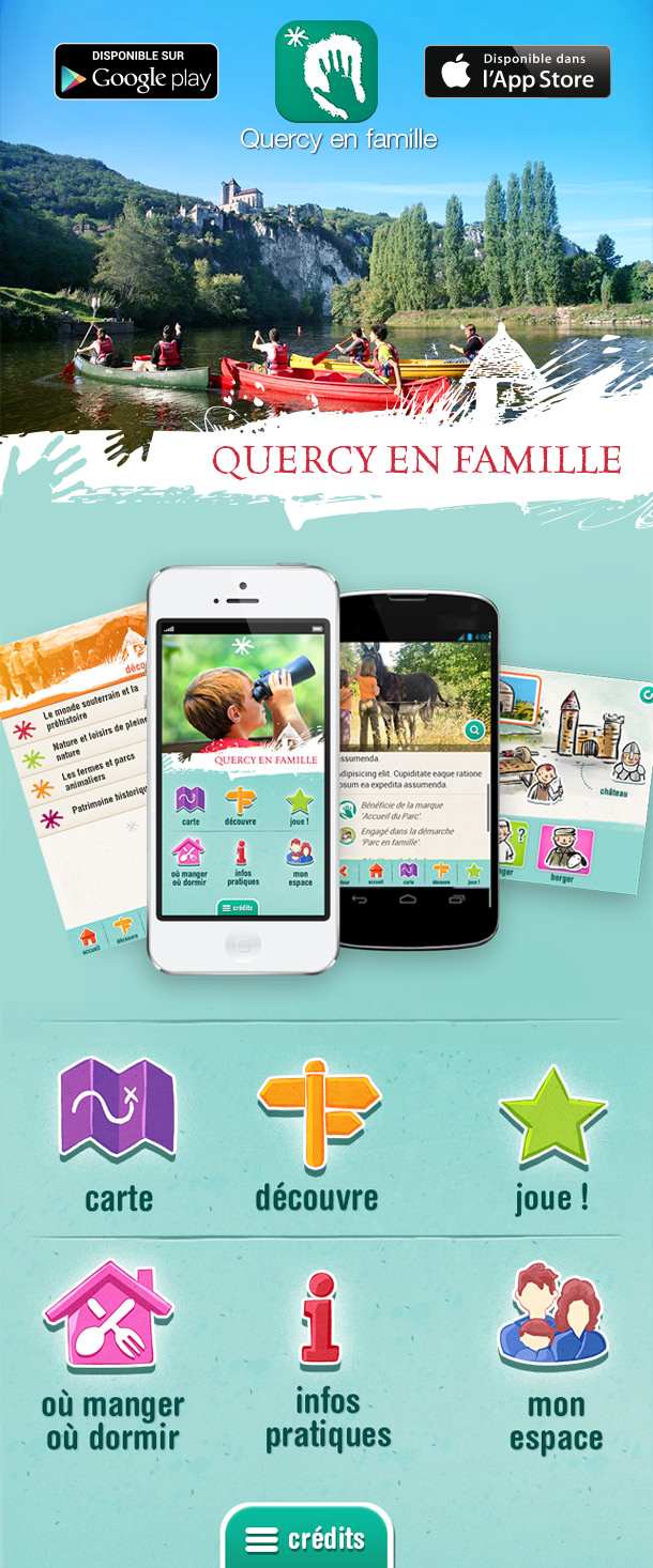 Quercy en Famille, application mobile Android et iPhone